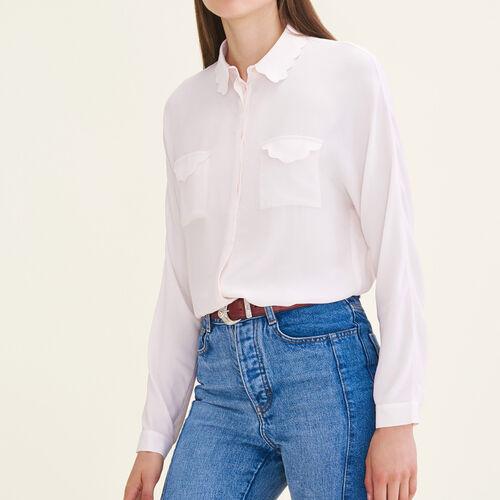 Chemise en soie mélangée : Tops & Chemises couleur Rose