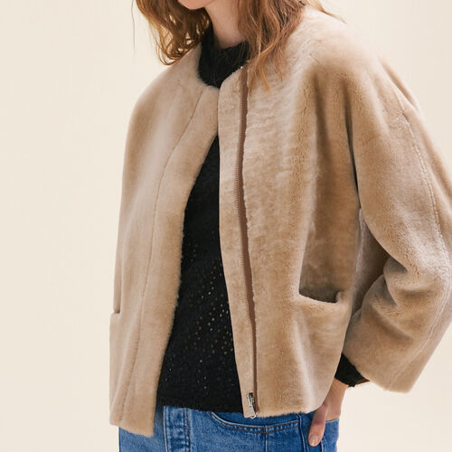 Reversible sheepskin jacket : Coats & Jackets color Beige