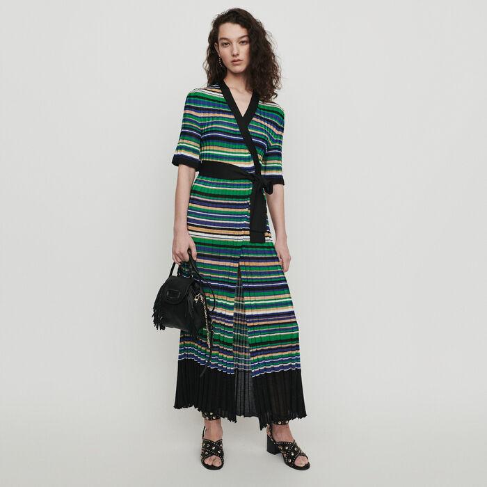Robe longue en maille rayée : Robes couleur MULTICO