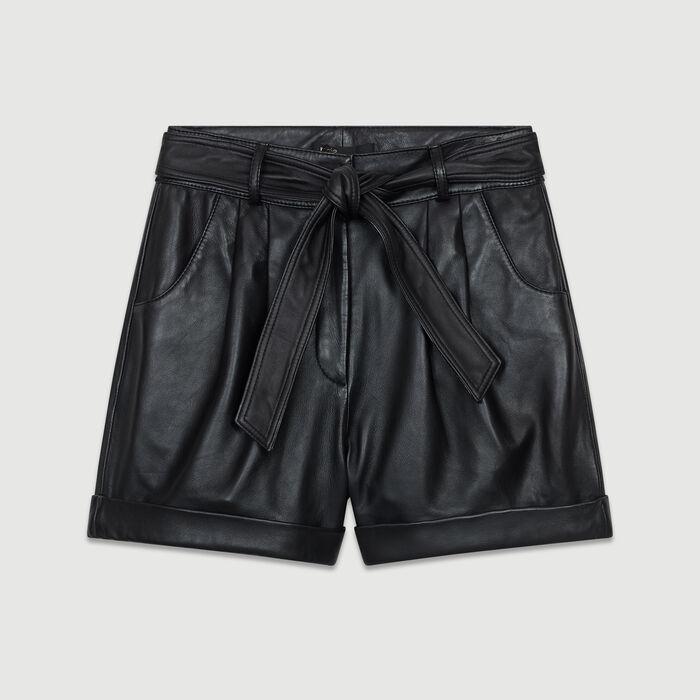 Short large en cuir : Prêt-à-porter couleur Black