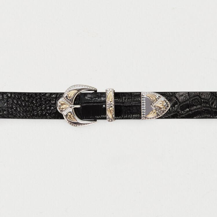 Ceinture à double boucle en cuir embossé : New Collection couleur Black