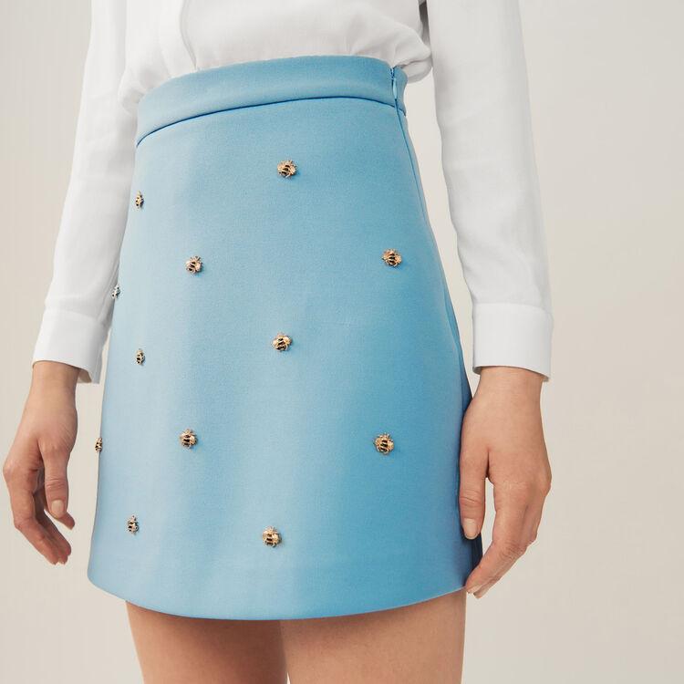 Jupe avec abeilles brodées : Jupes & Shorts couleur Bleu Ciel