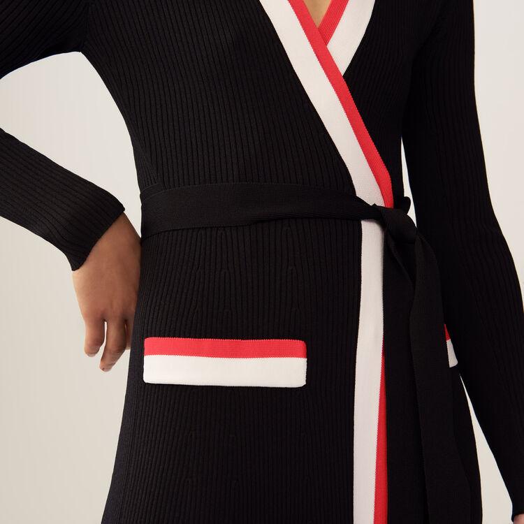 Robe longue portefeuille en maille : Robes couleur Black