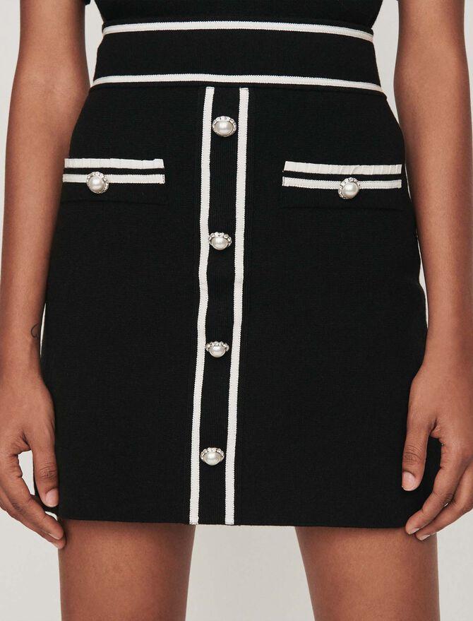 Jeweled contrast knit skirt - Skirts & Shorts - MAJE