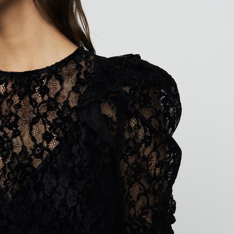 Top en dentelle velours : Prêt-à-porter couleur Black