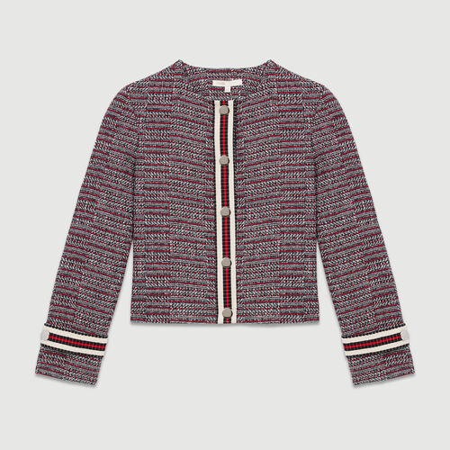 Cotton tweed jacket : Blazers color Jacquard