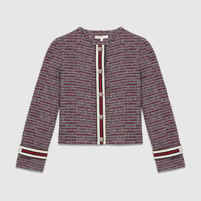 Veste en tweed de coton : Vestes couleur Jacquard