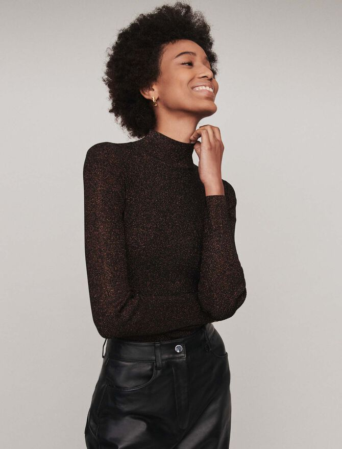 Pull fin en lurex col montant - Maille - MAJE
