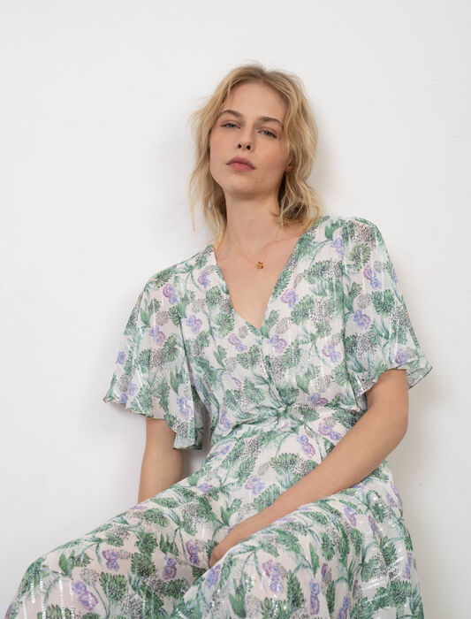 Robe foulard en mousseline imprimée : Robes couleur Végétal Écru/Vert