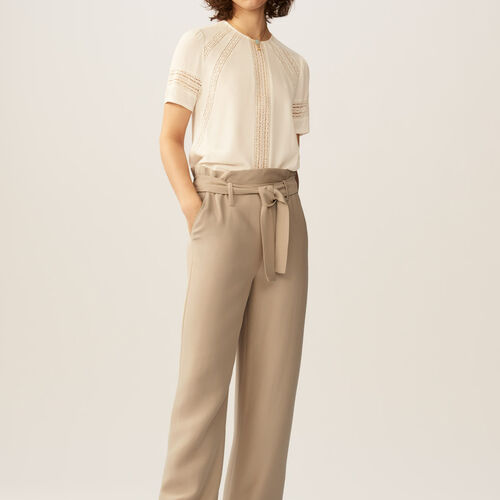 Wide-leg pants with removable belt : Trousers & Jeans color Beige
