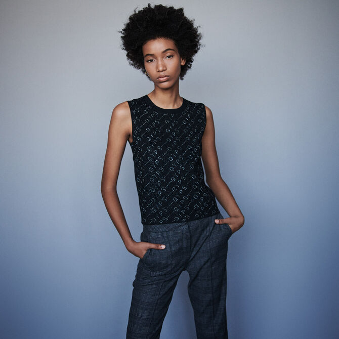 Lurex jacquard sleeveless sweater - staff private sale 20 - MAJE