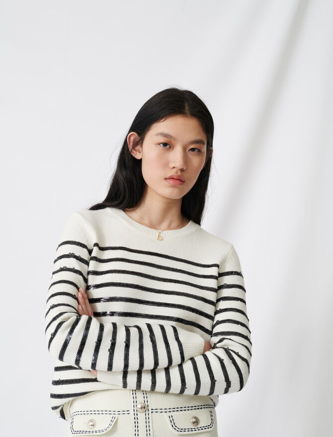 Breton jumper with sequins - Pullovers & Cardigans - MAJE