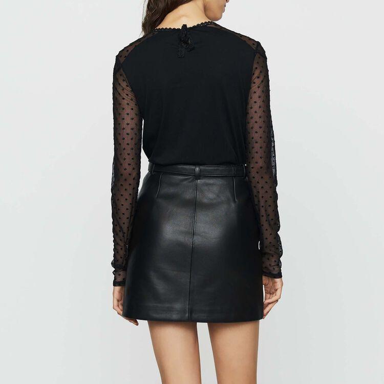 Tee-shirt en coton et plumetis : Nouvelle Collection couleur Black