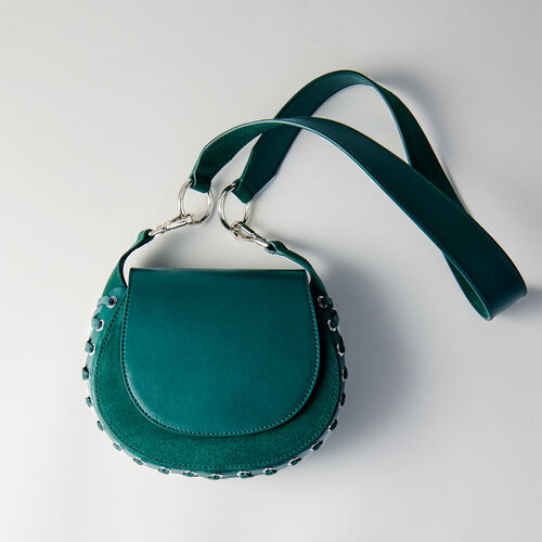 Besace Gyps en cuir et suède à lacets : Collection hiver couleur VERT