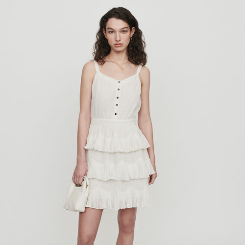 Ruffled dress with straps : Dresses color White
