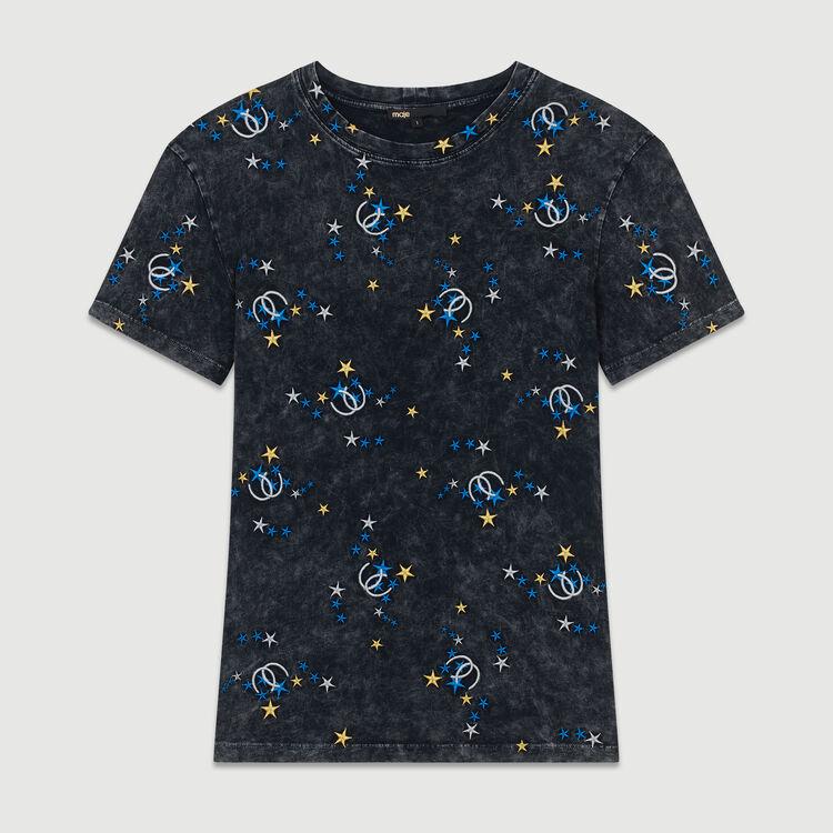 Tee-shirt en coton délavé avec broderies : T-Shirts couleur Gris