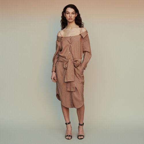 Robe-chemise rayée à épaules dénudées : Robes couleur Terracotta