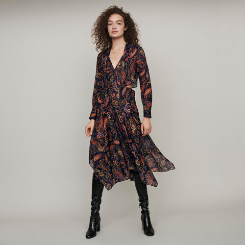Printed-cotton scarf dress : Winter collection color Navy