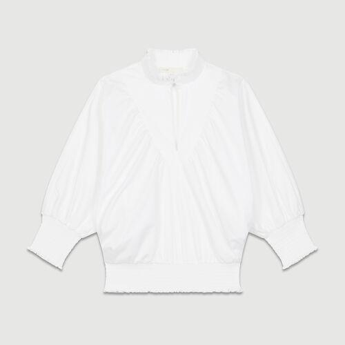 Blouse en popeline de coton : Tops couleur BLANC