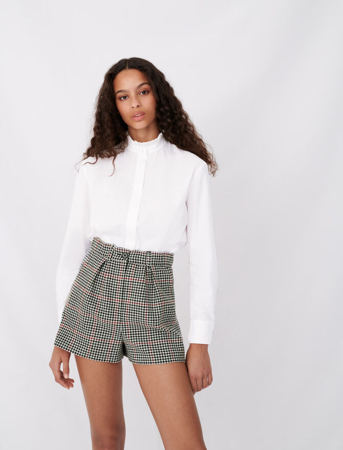 Poplin shirt with rhinestone collar - tout - MAJE