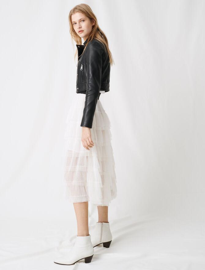 White tulle midi skirt -  - MAJE