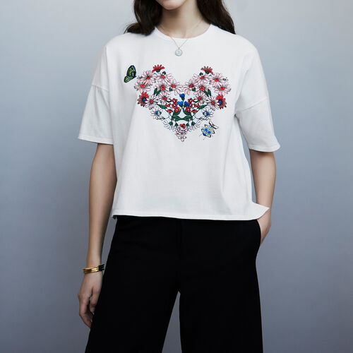 Tee-shirt brodé coeur : T-Shirts couleur BLANC