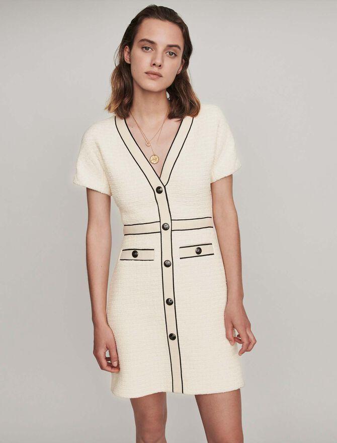 Robe contrastée façon tweed - SoldesBE_ALL - MAJE