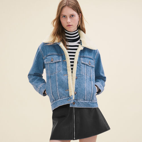 Denim jacket with sheepskin detail : Jackets & Blazers color Denim