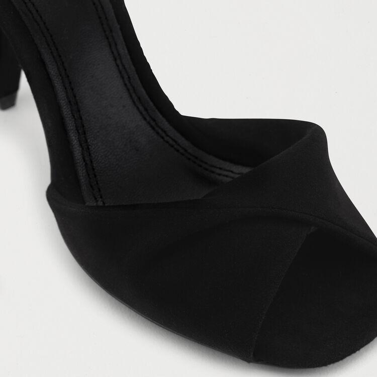 Sandales hautes en cuir de velours : Escarpins couleur Black