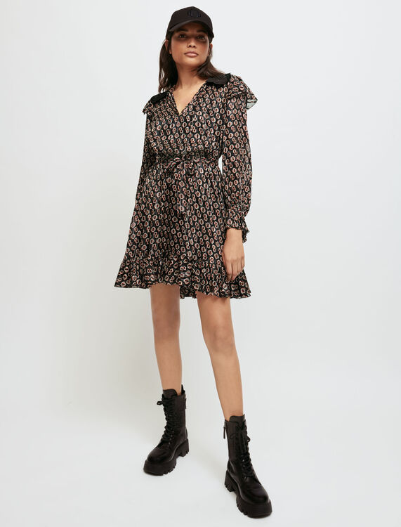 Printed lurex chiffon dress - Short dresses - MAJE