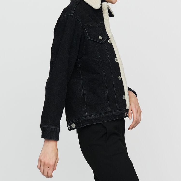 Veste en fausse peau retournée : Blousons couleur Black