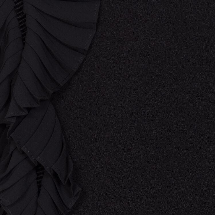 Robe droite avec manches plissées : Majexclusive couleur Black