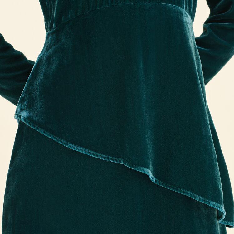 Robe longue en velours : Robes couleur VERT
