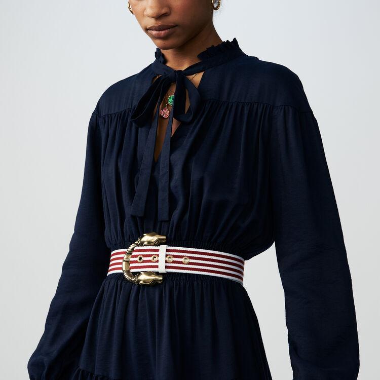 Robe à volants avec smocks : Robes couleur BLEU NUIT