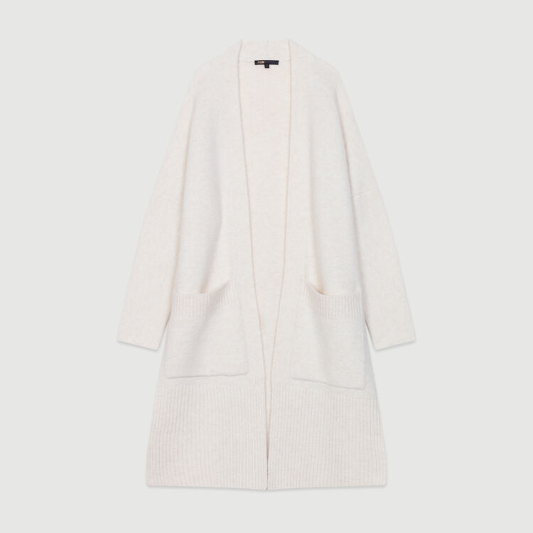 Cardigan long oversize : Maille couleur ECRU