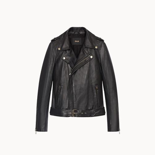 Lambskin bubble leather jacket : Coats & Jackets color Black 210