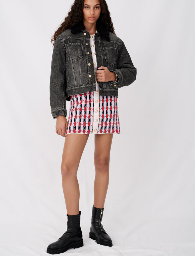 Denim and fur-effect jacket - Blazers - MAJE