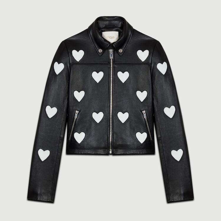 Blouson court en cuir avec cœurs : Blousons couleur Black