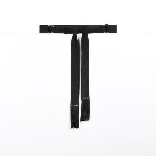 Ceinture à nouer en chèvre velours : Accessoires couleur Black
