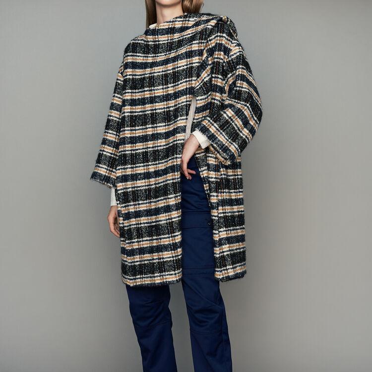 Manteau esprit poncho en tartan : Manteaux couleur CARREAUX