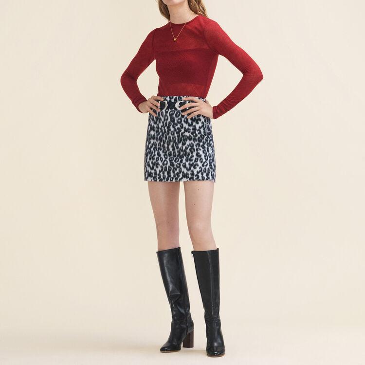 Top ajusté en étamine de laine : Tops couleur BORDEAUX