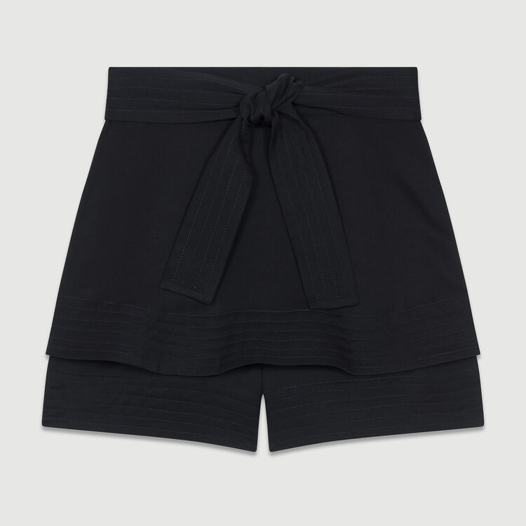 Short-jupe en lin mélangé : Jupes & Shorts couleur Black