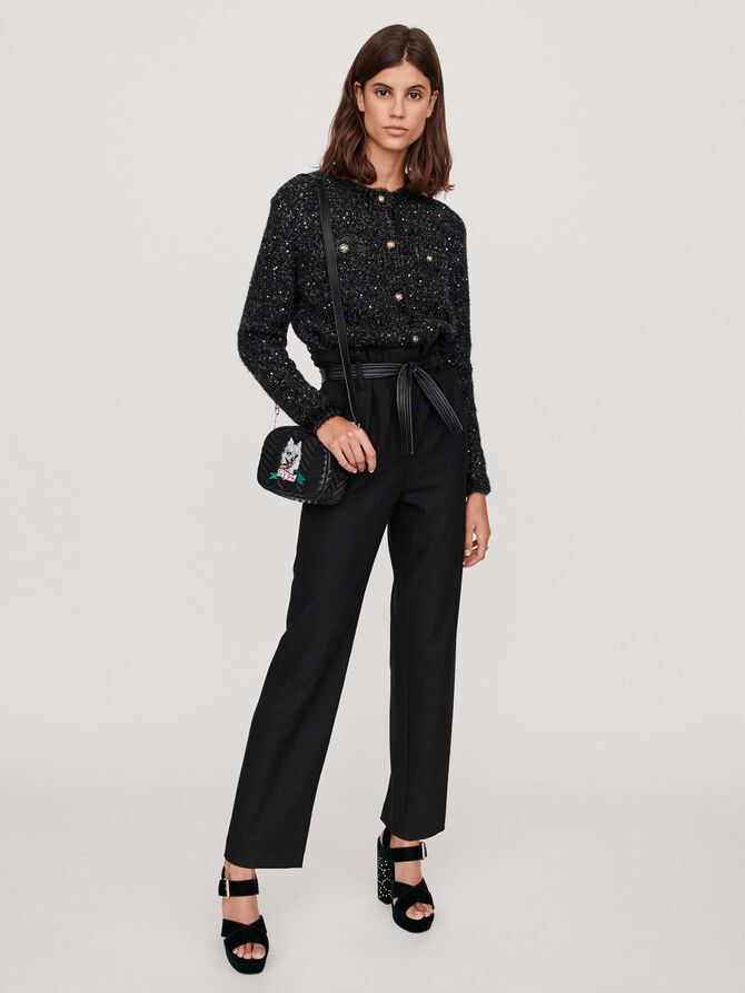 Pantalon ceinturé en chevron - More discounts - MAJE