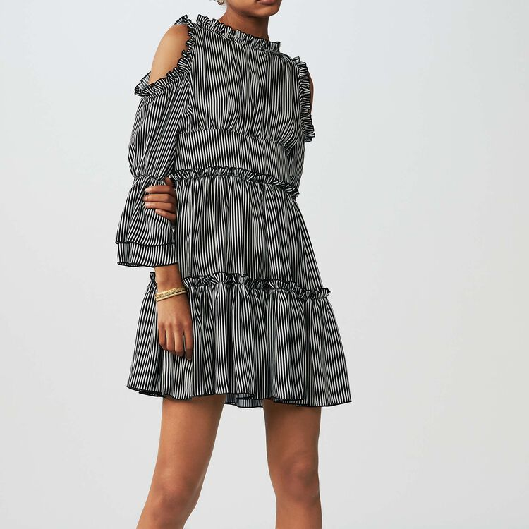Robe à rayures avec épaules dénudées : Robes couleur Rayure