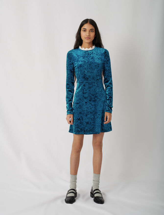 Crushed velvet dress with fancy collar - Dresses - MAJE