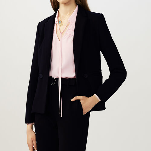 Mid lengt tailored jacket : Blazers color Black 210