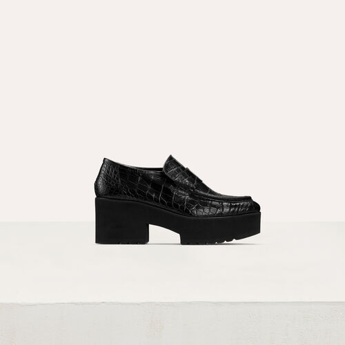 Mocassins plateforme en cuir embossé  : Nouvelle Collection couleur BLACK