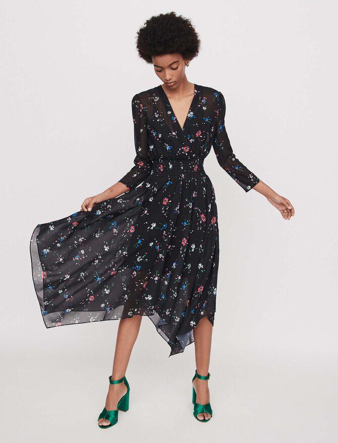 Robe-foulard en mousseline imprimée - Robes - MAJE