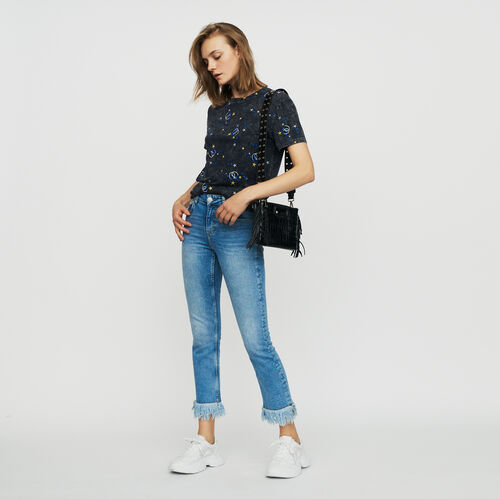 Straight jean with fringe : Jeans color Denim