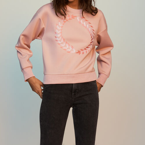 Sweat-shirt en molleton avec broderies : Sweats couleur PECHE